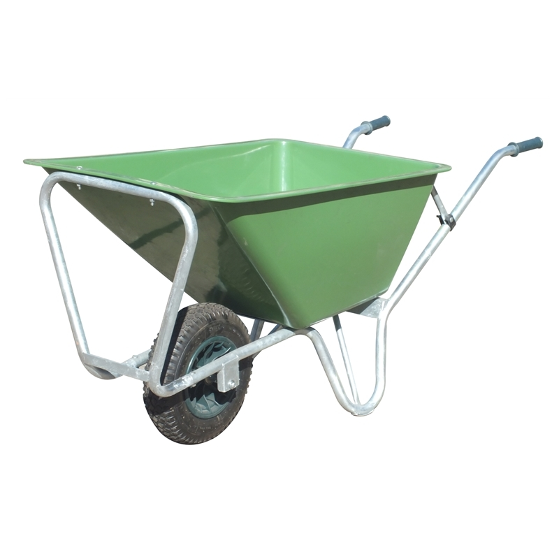 Qingtai QT1086 Plastic Tray Two Wheels  Heavy Duty Wheelbarrow