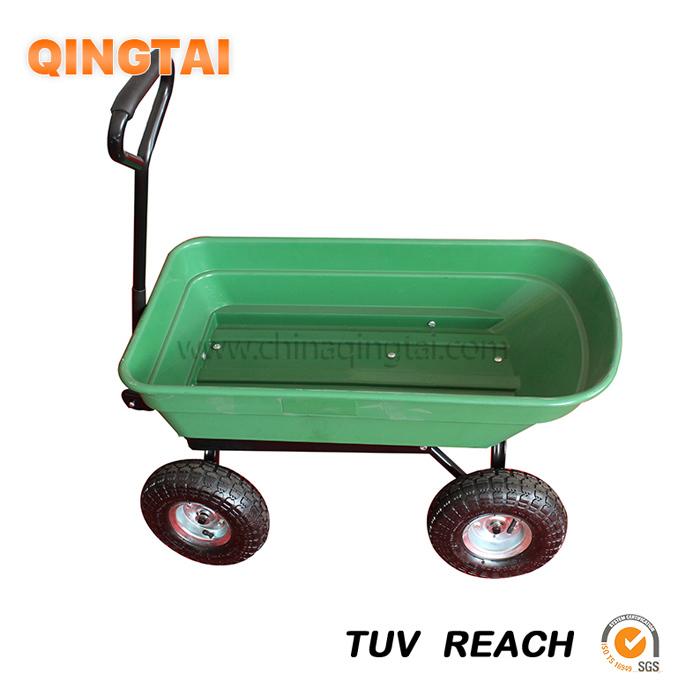 Qingtai QT5071 4 Wheels Plastic Wagon Garden Foldable Easy Dump Four 3.50-4 Wheel Cart