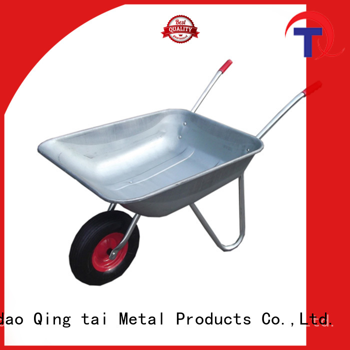 QINGTAI comfortable handle small wheelbarrow sales in China for carry mulch
