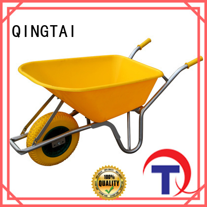 QINGTAI 4 wheel garden trolley truck cart wheelbarrow supplier for garden